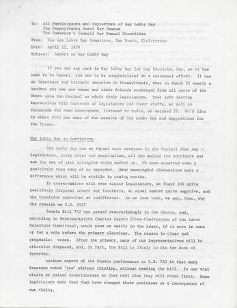 Gay Lobby Day Report - April 11, 1976