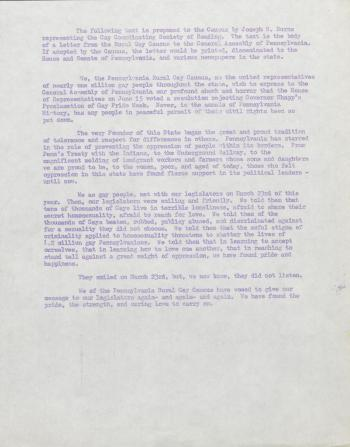 PA Rural Gay Caucus statement on Gay Pride Week Proclamation - 1976