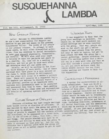 Susquehanna Lambda Newsletter - April/May 1986