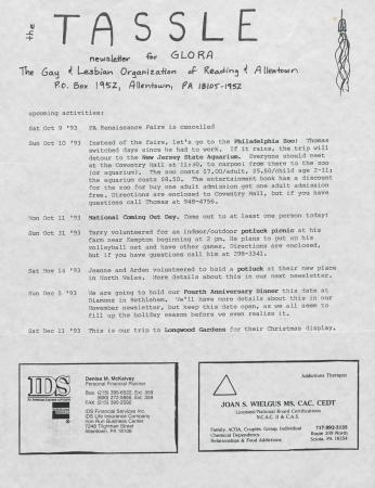 Tassle Newsletter - October 1993