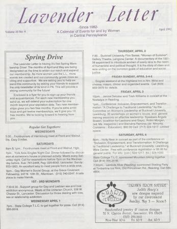 Lavender Letter - April 1992