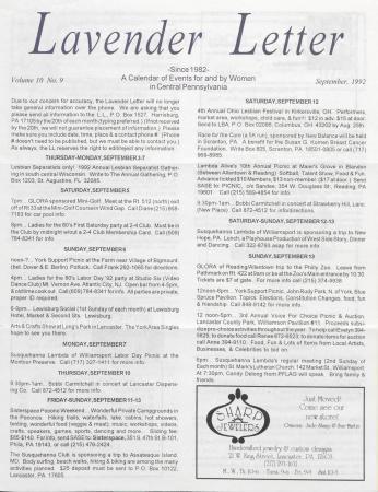 Lavender Letter - September 1992