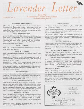 Lavender Letter - October 1992