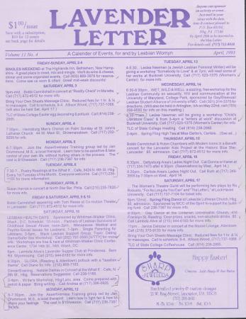 Lavender Letter - April 1993