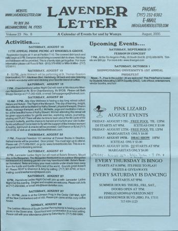 Lavender Letter (Harrisburg, PA) - August 2005