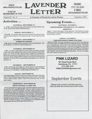 Lavender Letter (Harrisburg, PA) - September 2005