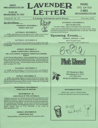 Lavender Letter (Harrisburg, PA) - December 2005
