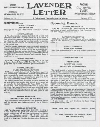 Lavender Letter (Harrisburg, PA) - January 2006