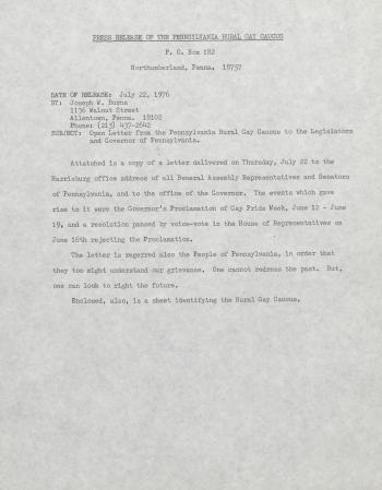 PA Rural Gay Caucus Press Release - July 22, 1976