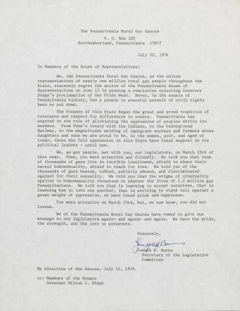 PA Rural Gay Caucus Letter - July 22, 1976