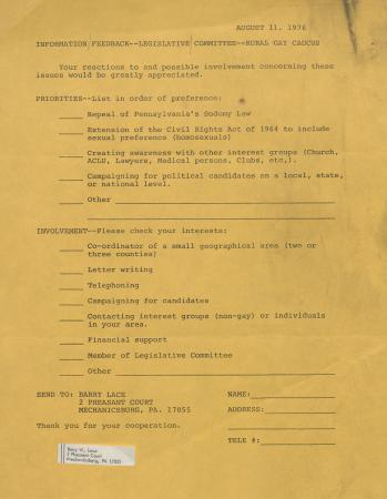 PA Rural Gay Caucus Feedback Form - August 11, 1976