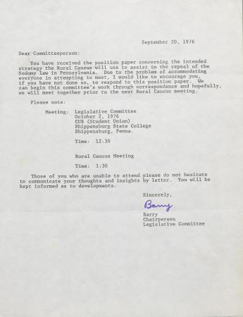 PA Rural Gay Caucus Letter - September 20, 1976