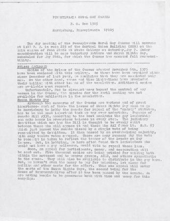 PA Rural Gay Caucus Report - April 1977