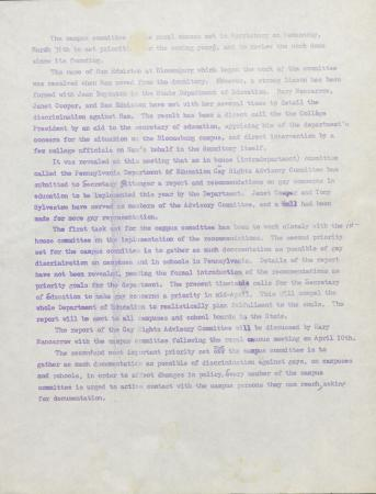 PA Rural Gay Caucus Education Committee Minutes - March 31, circa 1976