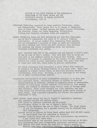 PA Rural Gay Caucus Legislative Committee and Governor's Council on Sexual Minorities Joint Meeting Minutes - June 12, 1976