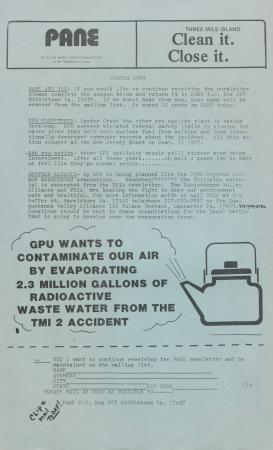 PANE Newsletter (Winter 1987)