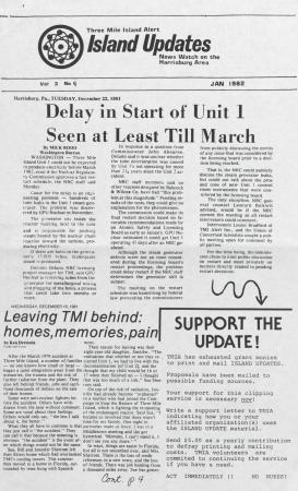 Three Mile Island Alert: Island Updates, 1982