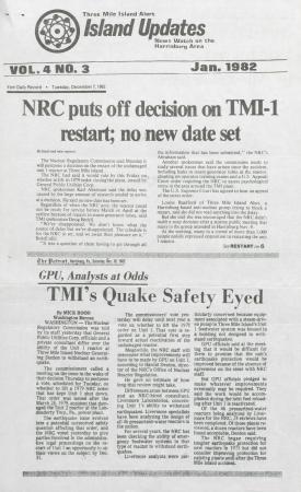 Three Mile Island Alert: Island Updates, 1983