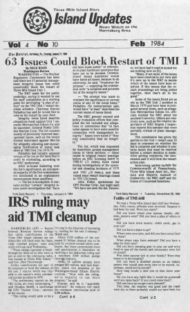 Three Mile Island Alert: Island Updates, 1984