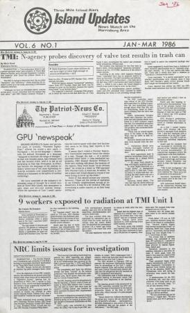 Three Mile Island Alert: Island Updates, 1986