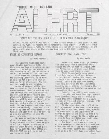 Three Mile Island Alert Newsletters, 1981