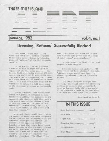 Three Mile Island Alert Newsletters, 1982