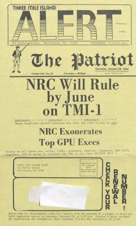 Three Mile Island Alert Newsletters, 1984