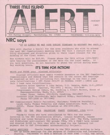 Three Mile Island Alert Newsletters, 1985