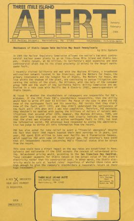 Three Mile Island Alert Newsletters, 1986
