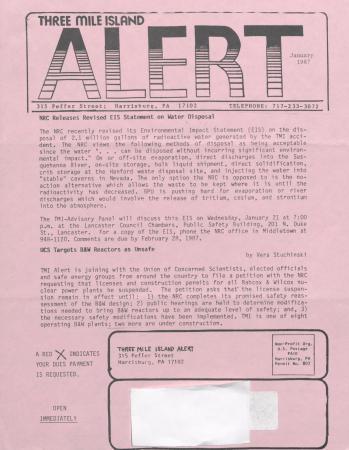 Three Mile Island Alert Newsletters, 1987