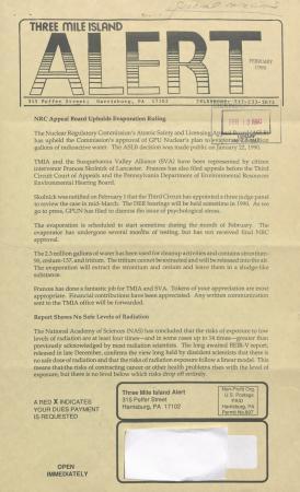 Three Mile Island Alert Newsletters, 1990