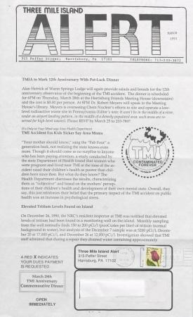 Three Mile Island Alert Newsletters, 1991