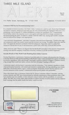 Three Mile Island Alert Newsletters, 1993
