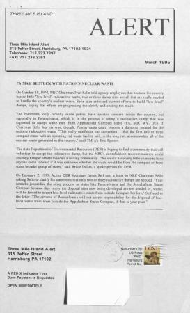 Three Mile Island Alert Newsletters, 1995