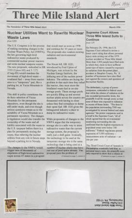 Three Mile Island Alert Newsletters, 1996