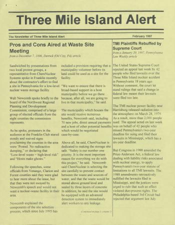 Three Mile Island Alert Newsletters, 1997