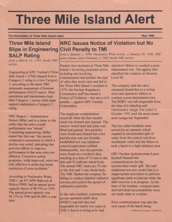 Three Mile Island Alert Newsletters, 1998