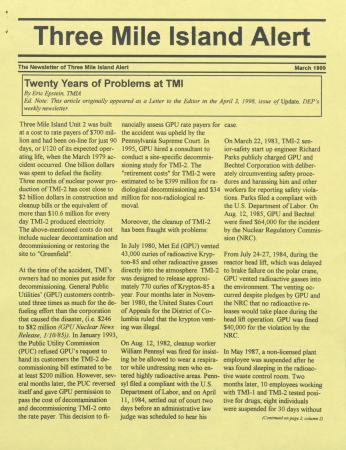 Three Mile Island Alert Newsletters, 1999