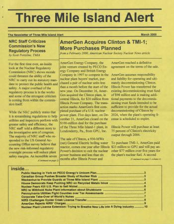 Three Mile Island Alert Newsletters, 2000
