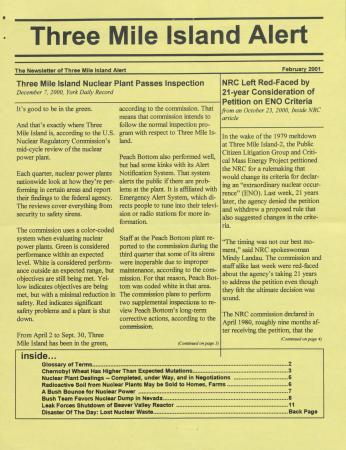 Three Mile Island Alert Newsletters, 2001