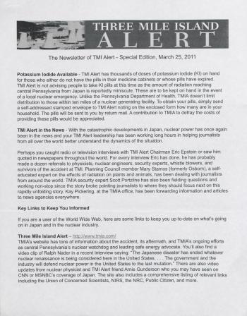 Three Mile Island Alert Newsletters, 2011
