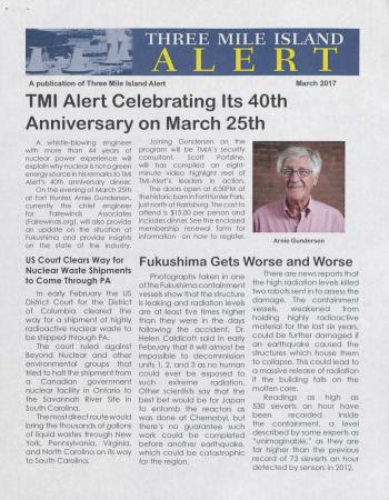 Three Mile Island Alert Newsletter (Mar. 2017)