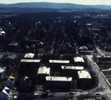 Aerial view of the Quads, 1989