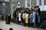 Ceremony on steps of Old West, c.1983