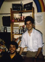 Two friends spend time in a dorm, c.1983