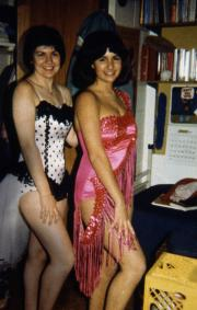 Two girls pose in costume, c.1983
