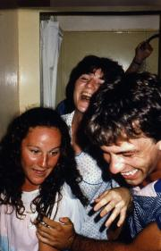 A group of friends laughing, c.1983