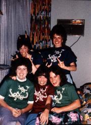 Five students pose, c.1983