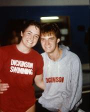 Two members of the swim team smile, c.1985