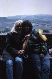 Abroad students pose with a baguette, c.1986